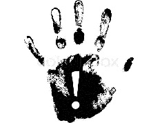 Hand print with exclamation mark